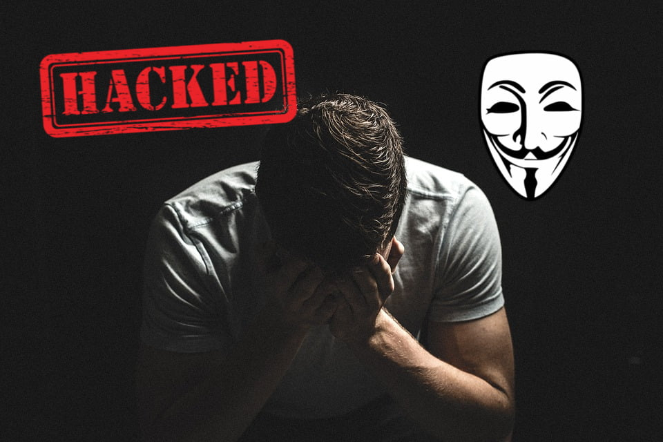 hacked man