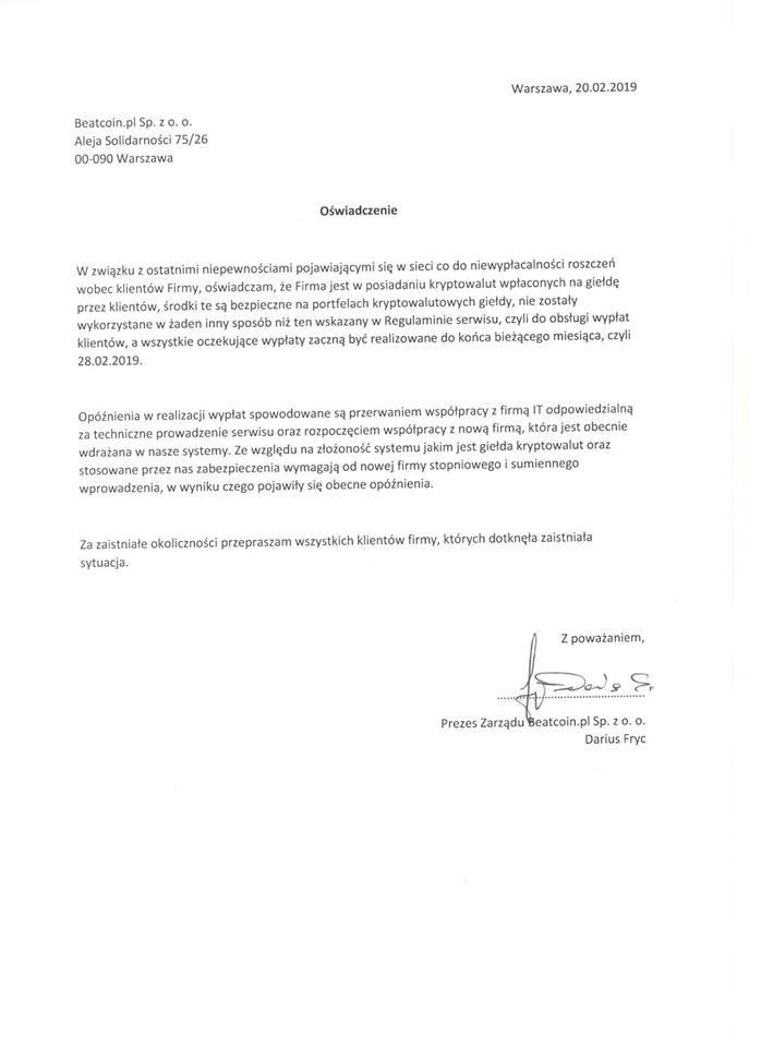 oświadczenie coinbe