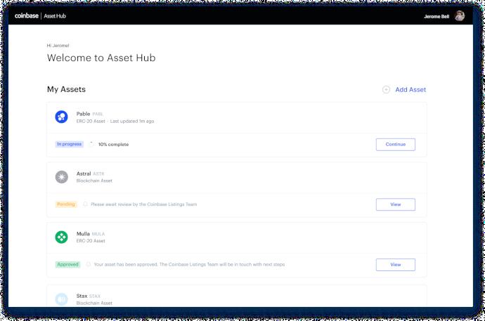 asset hub coinbase