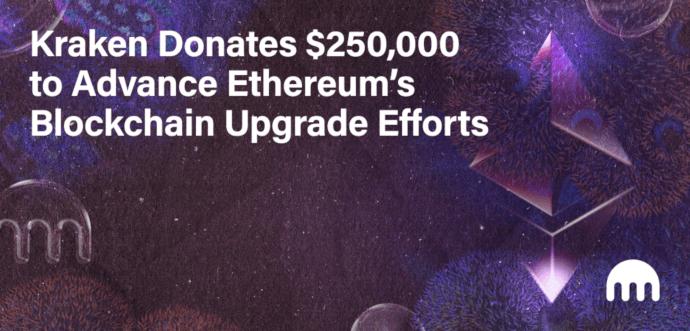 Kraken przekazał 250 000 $ na rozwój Ethereum